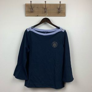 Tommy Hilfiger Blue 3/4 Sleeve Blouse Top